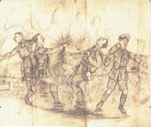 A sepia drawing of four soldiers in uniform, including shorts and puttees, being hit by a shell.
