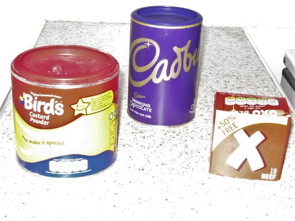 Photo of Bird's custard powder, Cadbury's drinking chocolate and Oxo cubes