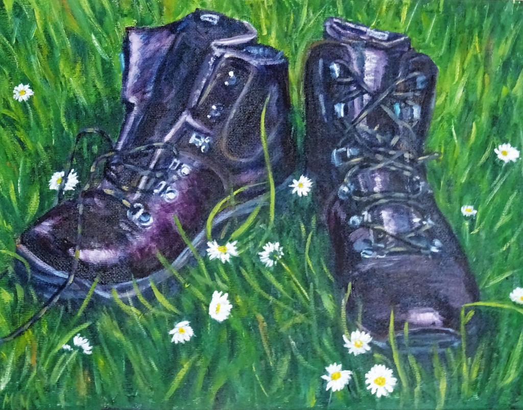 Painting of the new, shiny brown boots on long grass with daisies.  One has its laces undone.