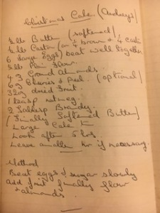 A handwritten recipe for Audrey's Christmas cake, with a list of all the ingredients and the method
