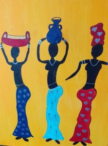 A painting of three black women wearing necklaces and patterned skirts (one blue, one turquoise and one red) on a bright yellow background.  One is holding a red basket on her head, one a dark blue jug and the other an African headress to match her red skirt.