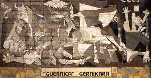 The sepia coloured tiles show the detail of the painting's depiction of people running or falling in the aftermath of the bombing.  There is also a panicking horse and the image of a bull, symbolic of Spain.