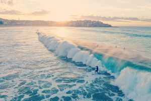 A view of a  very large wave green wave being ridden by surfers.  The sun is setting behind the headland of Manly Bay.